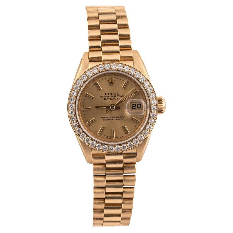 Rolex Ref. 69138 Datejust Lady's Diamond Yellow Gold Wristwatch
