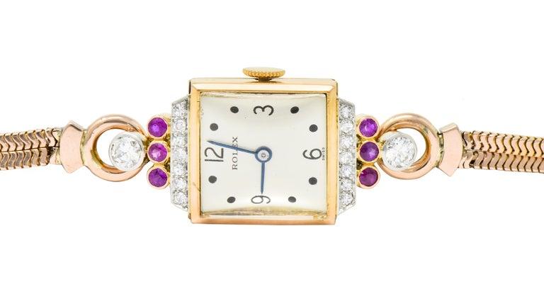 Rolex Retro Diamond Ruby 14 Karat Gold Watch Bracelet In Excellent Condition In Philadelphia, PA