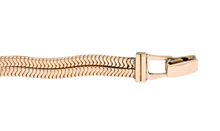 Women's or Men's Rolex Retro Diamond Ruby 14 Karat Gold Watch Bracelet