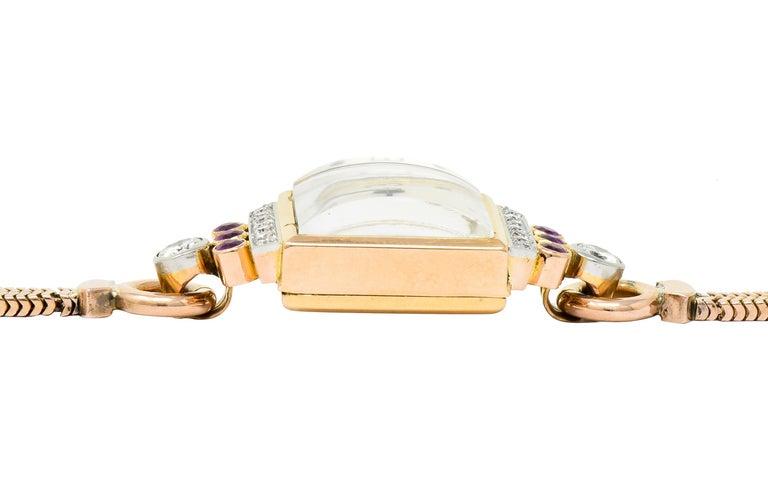 Rolex Retro Diamond Ruby 14 Karat Gold Watch Bracelet 1