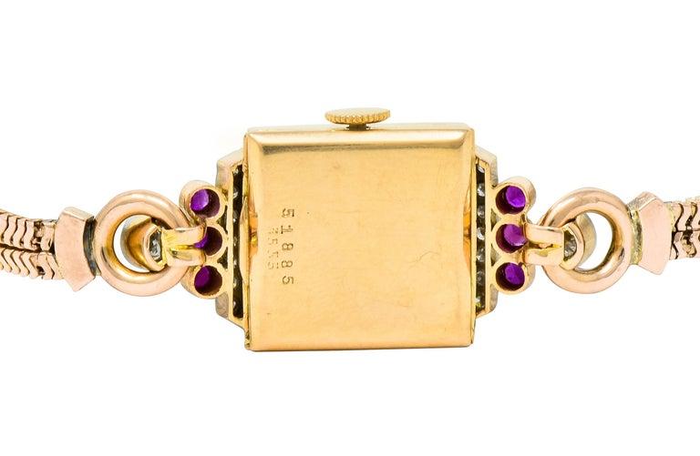 Rolex Retro Diamond Ruby 14 Karat Gold Watch Bracelet 2