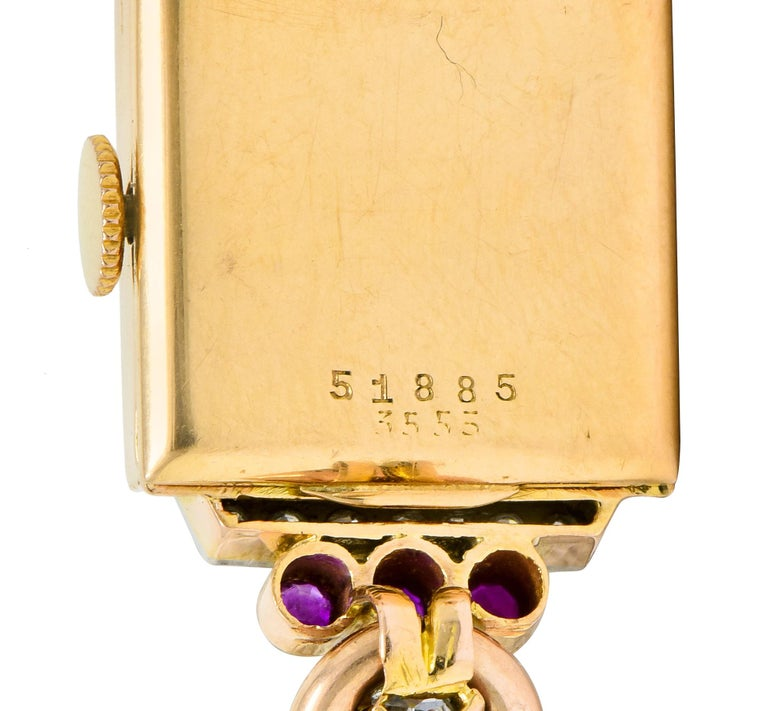 Rolex Retro Diamond Ruby 14 Karat Gold Watch Bracelet 3