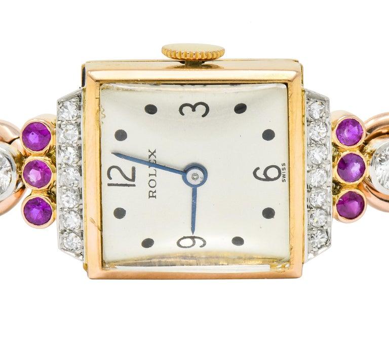 Rolex Retro Diamond Ruby 14 Karat Gold Watch Bracelet 4