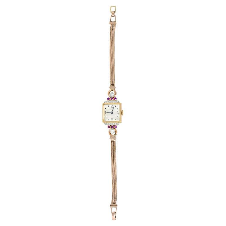 Rolex Retro Diamond Ruby 14 Karat Gold Watch Bracelet