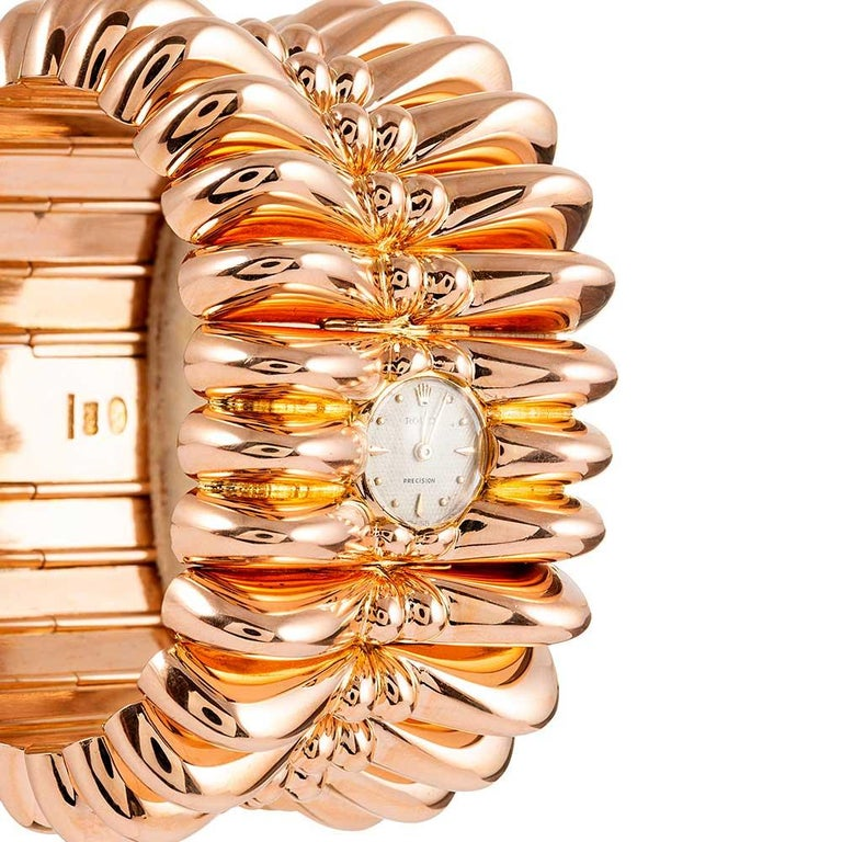 Rolex Retro Rose Gold Oversized Bracelet Watch In Good Condition For Sale In Carmel-by-the-Sea, CA