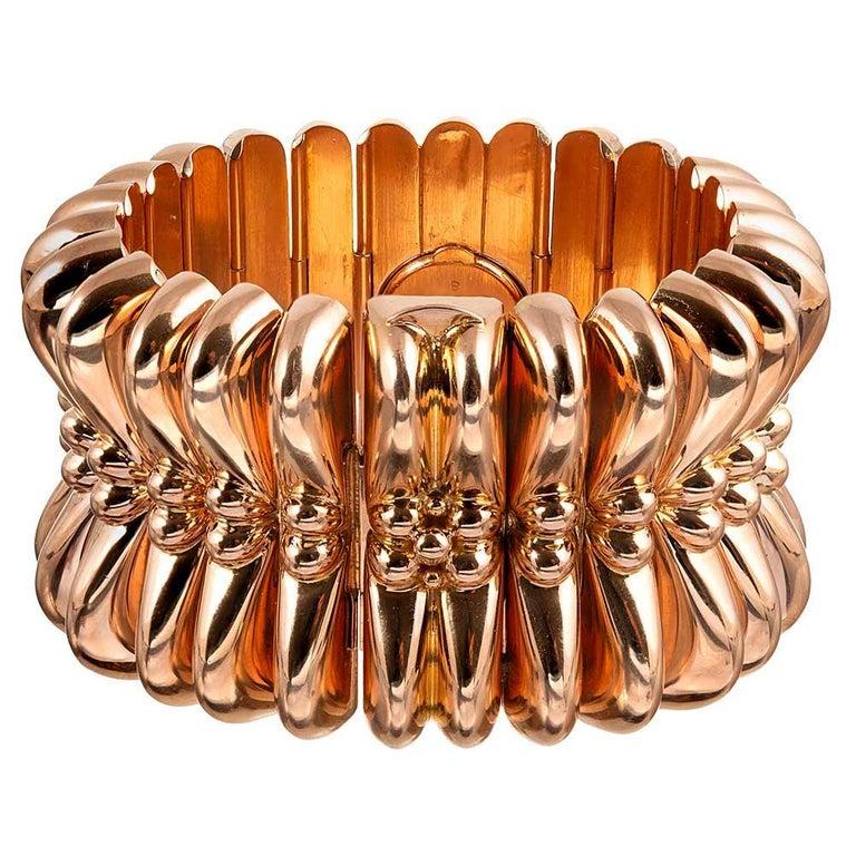 Women's Rolex Retro Rose Gold Oversized Bracelet Watch For Sale