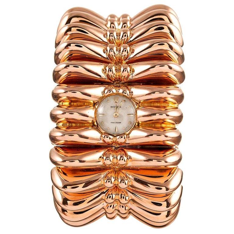 Rolex Retro Rose Gold Oversized Bracelet Watch For Sale