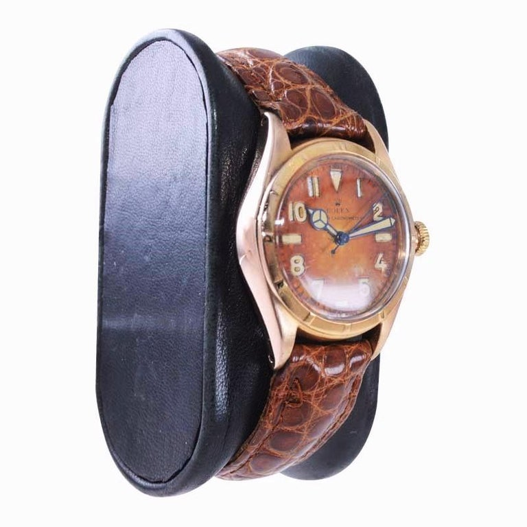 Art Deco Rolex Rose Gold Bubble Back Watch with Original Patinated Dial, 1930's For Sale
