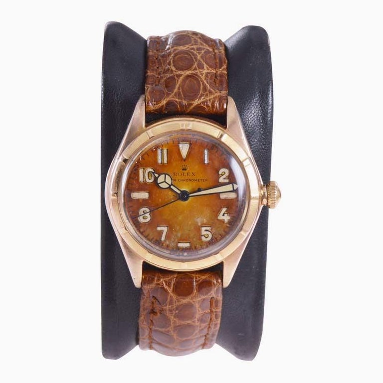 Rolex Rose Gold Bubble Back Watch with Original Patinated Dial, 1930's In Excellent Condition For Sale In Long Beach, CA