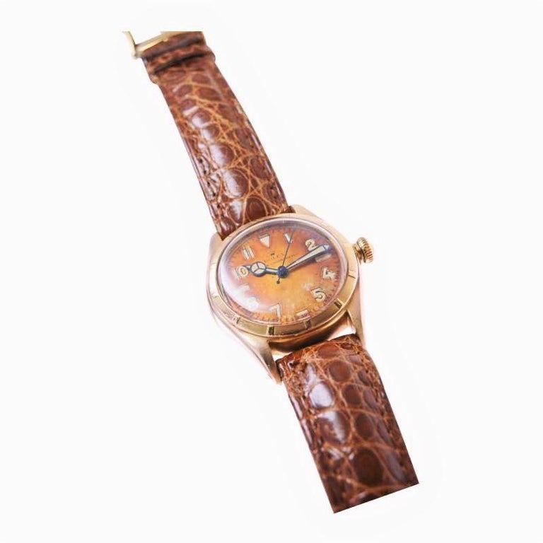 Women's or Men's Rolex Rose Gold Bubble Back Watch with Original Patinated Dial, 1930's For Sale