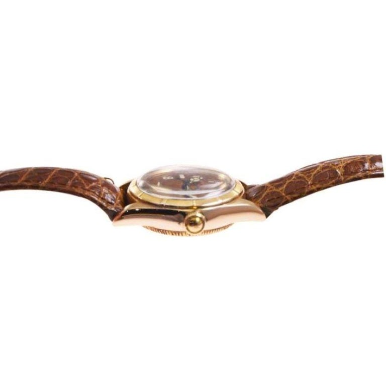 Rolex Rose Gold Bubble Back Watch with Original Patinated Dial, 1930's For Sale 1