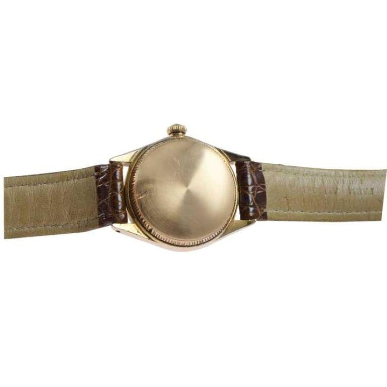 Rolex Rose Gold Bubble Back Watch with Original Patinated Dial, 1930's For Sale 2