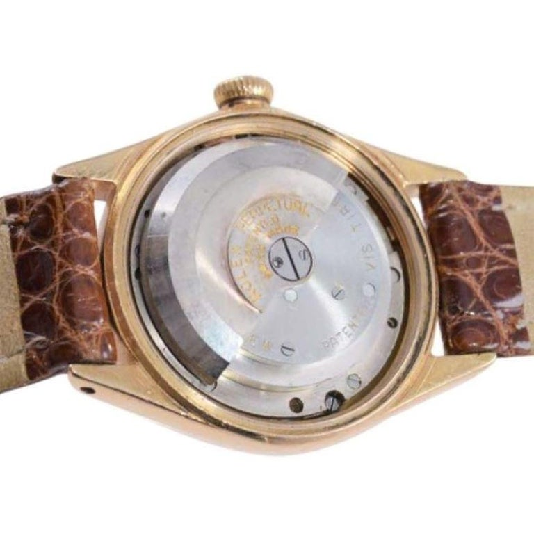 Rolex Rose Gold Bubble Back Watch with Original Patinated Dial, 1930's For Sale 3