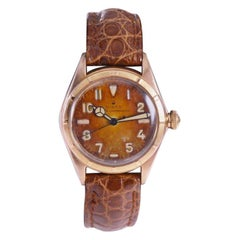 Rolex Rose Gold Bubble Back Watch with Original Patinated Dial, 1930's