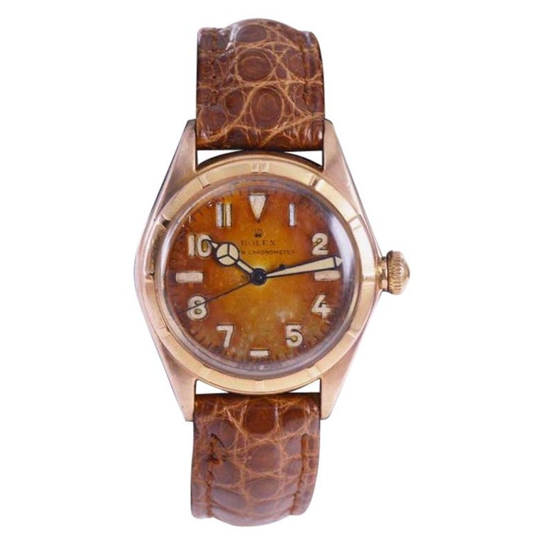 Rolex Rose Gold Bubble Back Watch with Original Patinated Dial, 1930's For Sale