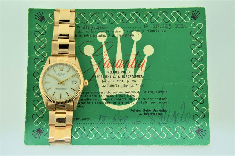 Rolex Rose Gold Oyster Perpetual Date Watch with Original Certificate For Sale 4