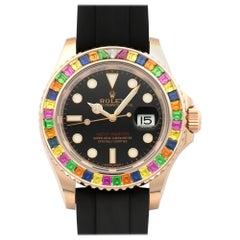Rolex Rose Gold Rainbow Sapphire Bezel Yacht-Master Wristwatch Ref 116695