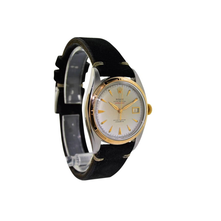 Women's or Men's Rolex Rose Gold Stainless Steel Datejust Perpetual Wind Watch, circa 1952 For Sale