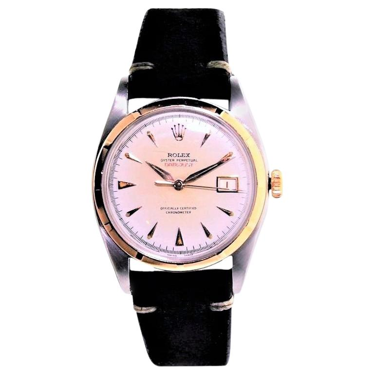 Rolex Rose Gold Stainless Steel Datejust Perpetual Wind Watch, circa 1952 For Sale