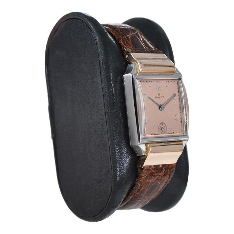 Art Deco Rolex Rose Gold Stainless Steel Dress Watch, 1930's For Sale
