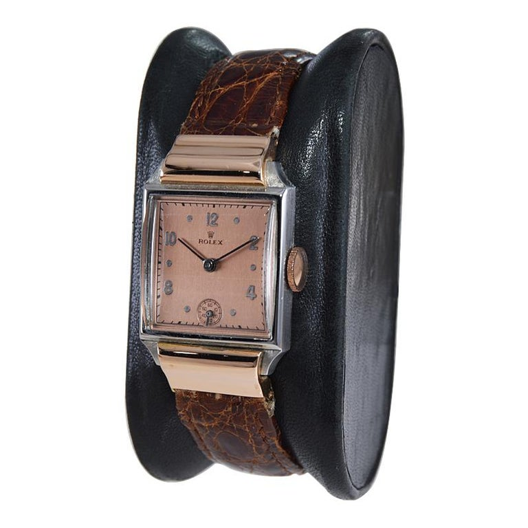 Rolex Rose Gold Stainless Steel Dress Watch, 1930's In Excellent Condition For Sale In Long Beach, CA
