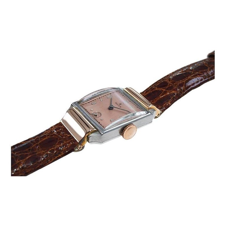 Women's or Men's Rolex Rose Gold Stainless Steel Dress Watch, 1930's For Sale