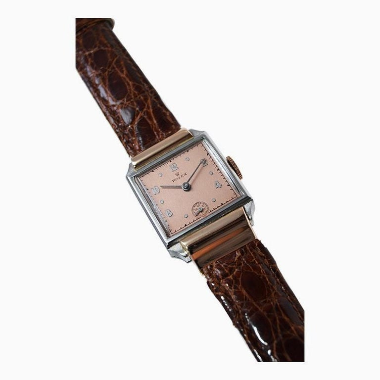 Rolex Rose Gold Stainless Steel Dress Watch, 1930's For Sale 1
