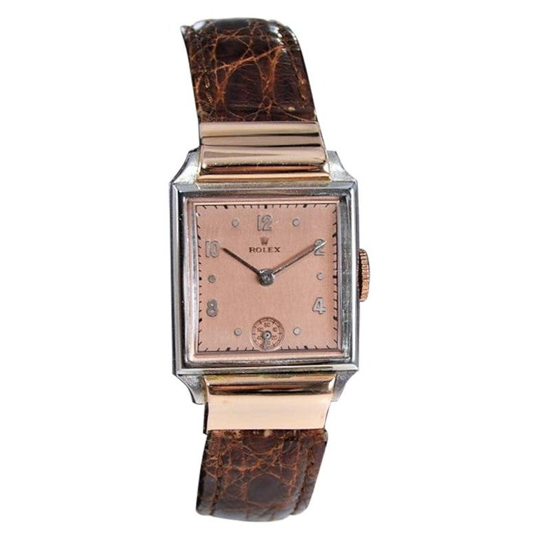 Rolex Rose Gold Stainless Steel Dress Watch, 1930's For Sale