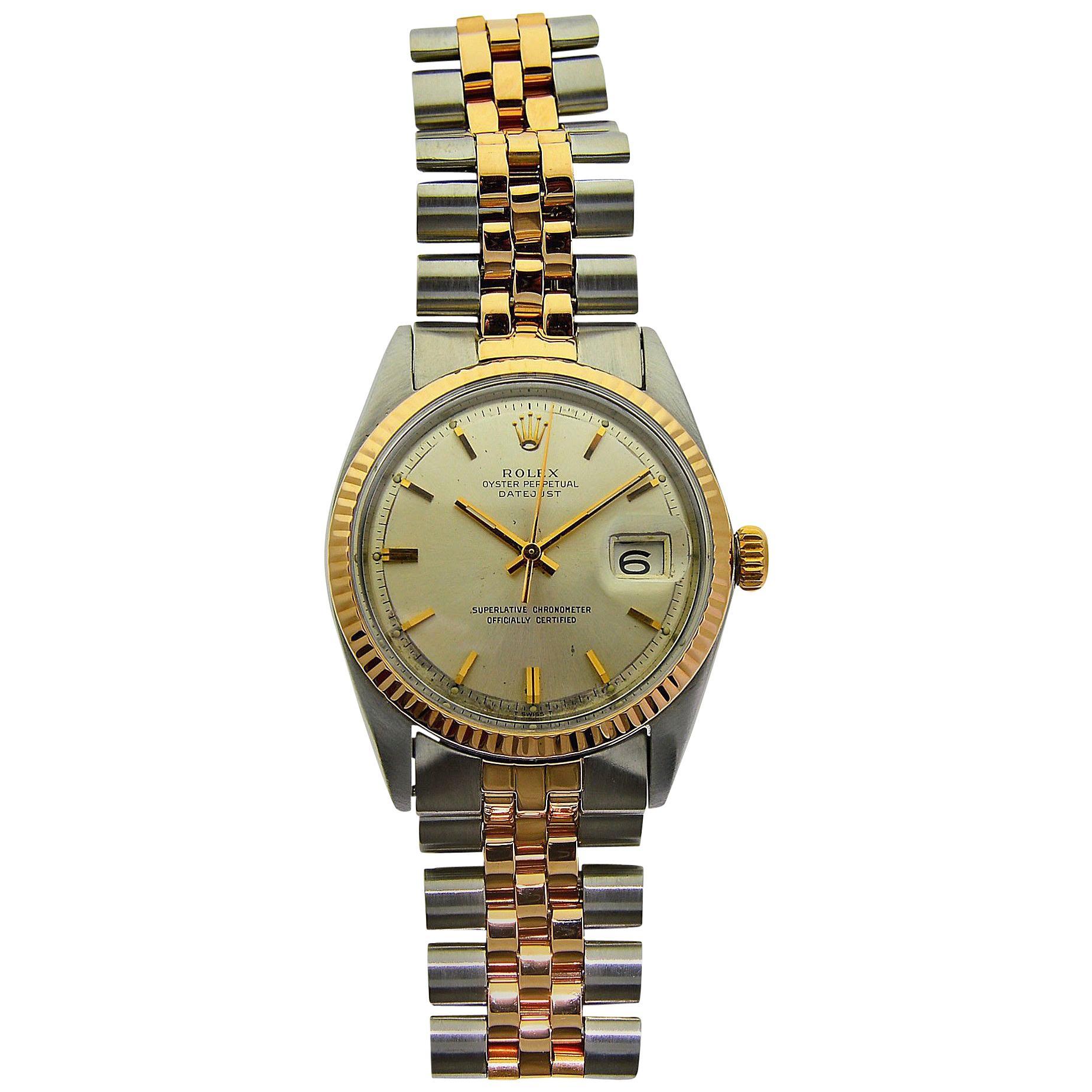 Rolex Rose Gold Stainless Steel Jubilee Bracelet Self-Winding Wristwatch