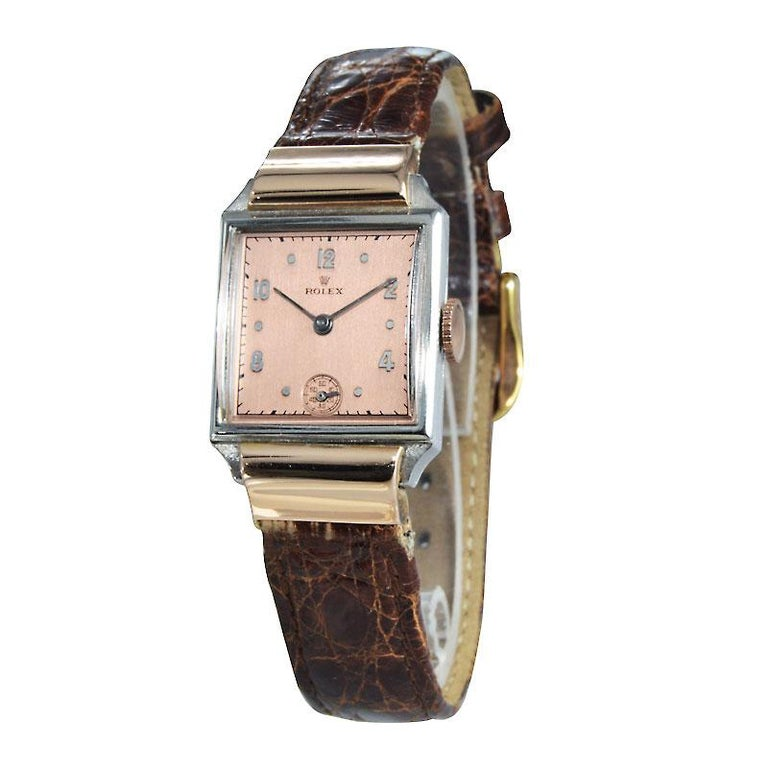 Art Deco Rolex Rose Gold Stainless Steel Watch For Sale