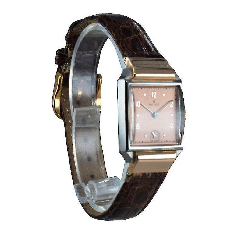 Women's or Men's Rolex Rose Gold Stainless Steel Watch For Sale