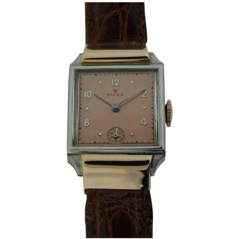 Rolex Rose Gold Stainless Steel Watch For Sale 1