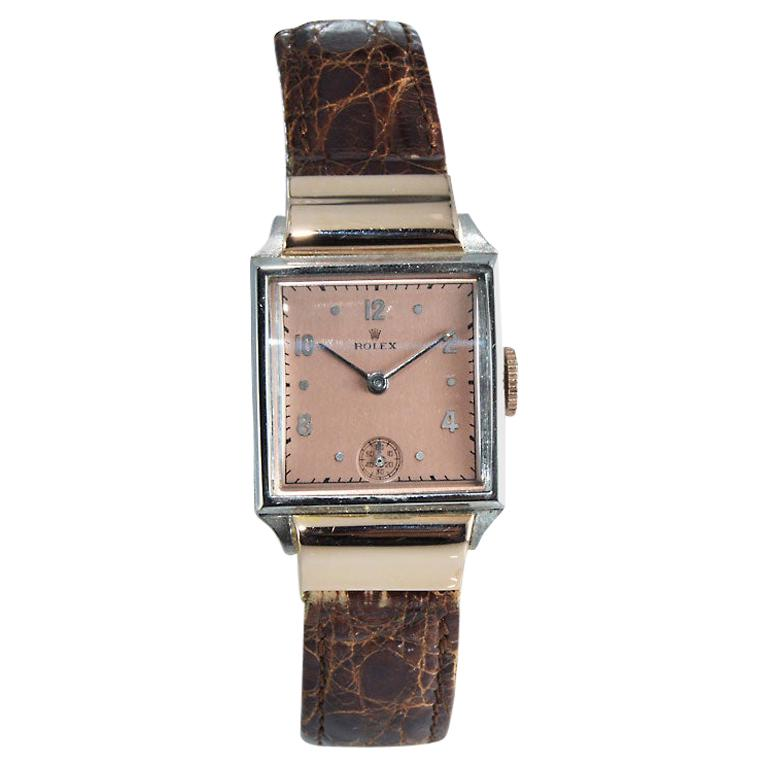 Rolex Rose Gold Stainless Steel Watch For Sale
