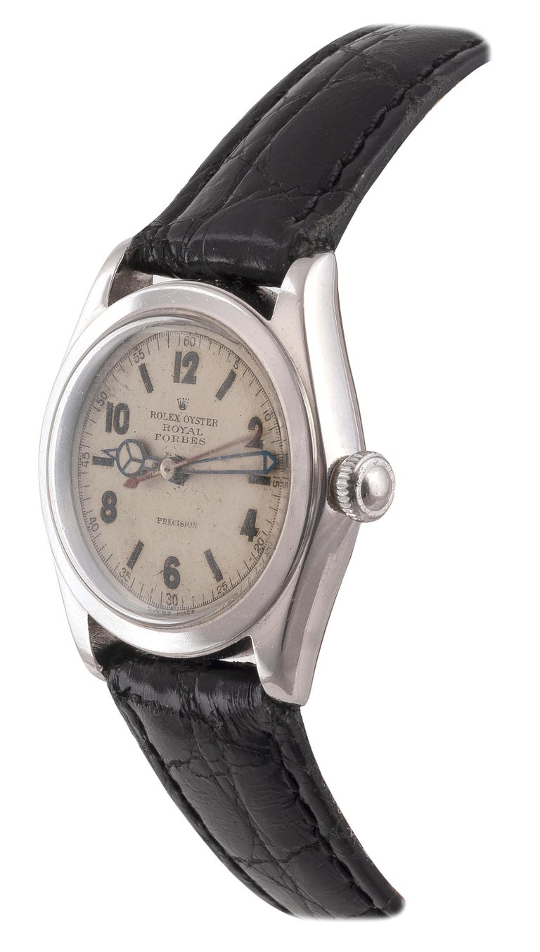 """Fine and rare, stainless steel, manual winding wristwatch with screw-down case back, silver dial and centre seconds. ModelRoyal YearCirca 1930s Case No. 202704 Caliber10 1/2"""" DimensionsØ 32mm SignatureCase, Dial and Movement"""