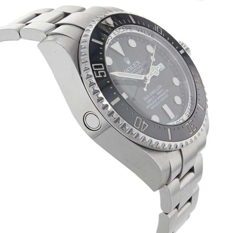 Rolex Sea-Dweller Deepsea 126660 Black Dial Steel Automatic Men's Watch In Excellent Condition For Sale In New York, NY