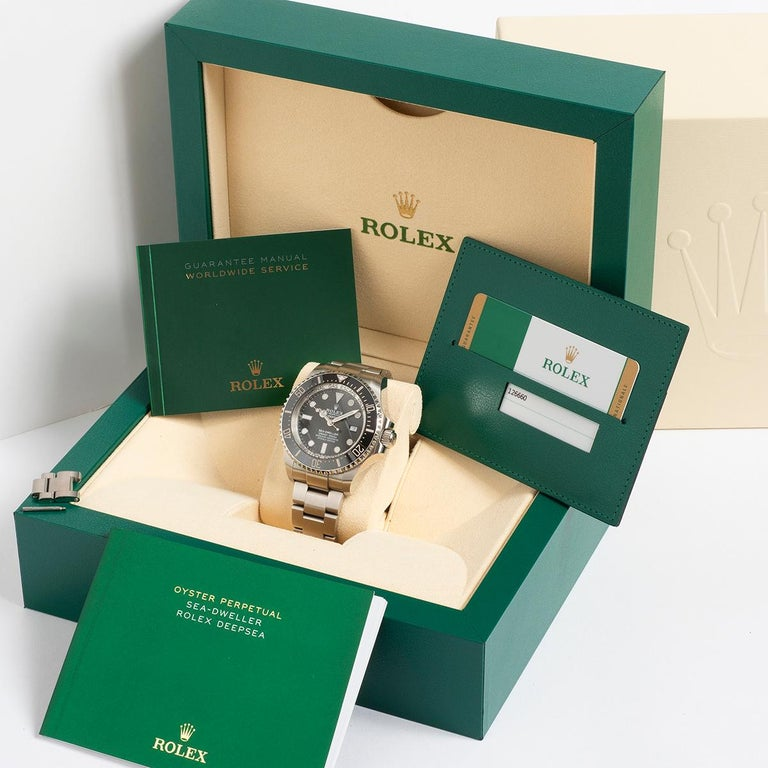 Our Rolex Sea-dweller Deepsea, reference 126660 is presented in outstanding condition, with light signs of use, and the protective stickers in place on the clasp. Our example comprises inner and outer box and card sleeve, DeepSea instructions,