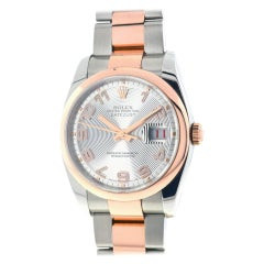 Rolex Silver 116201 Datejust Stainless Steel Rose Gold Watch