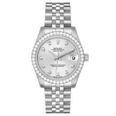 Rolex Silver Diamonds 18K White Gold Datejust Women's Wristwatch 31 MM