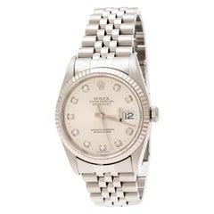 Rolex Silver Stainless Steel Diamond Datejust 16234 Men's Wristwatch 35 mm