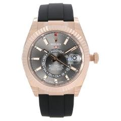 Rolex Sky Dweller 18k Everose Gold Dark Rhodium Dial Men Watch 326235