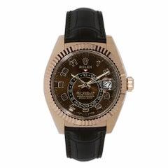 Rolex Sky-Dweller 18 Karat Rose Gold Leather Strap Watch 326135