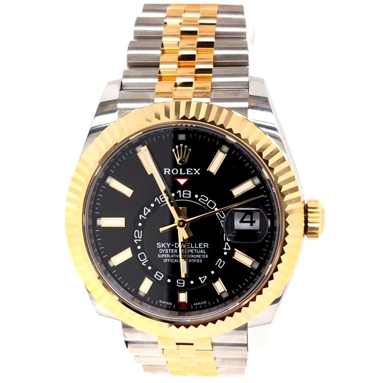 Rolex Sky-Dweller Two-Tone Steel & 18ct Yellow Gold Black Dial Watch 326933 In New Condition For Sale In Aventura, FL