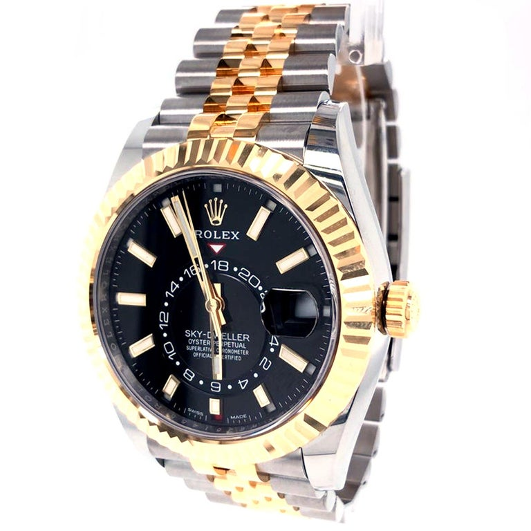 Women's or Men's Rolex Sky-Dweller Two-Tone Steel & 18ct Yellow Gold Black Dial Watch 326933 For Sale