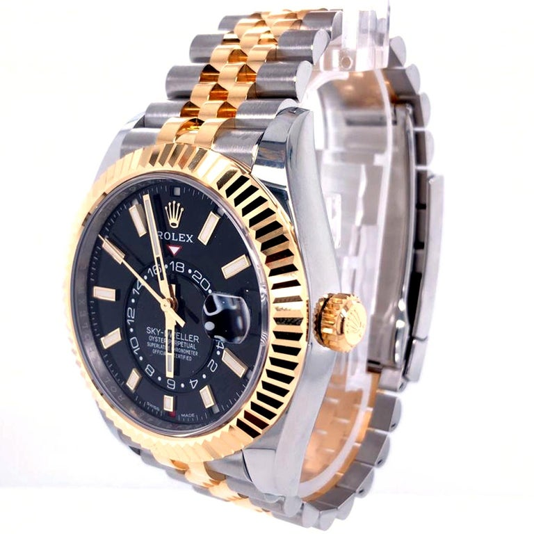 Rolex Sky-Dweller Two-Tone Steel & 18ct Yellow Gold Black Dial Watch 326933 For Sale 1