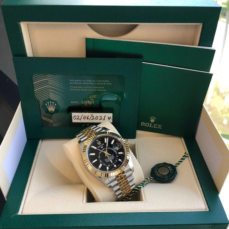 Rolex Sky-Dweller Two-Tone Steel & 18ct Yellow Gold Black Dial Watch 326933 For Sale 2
