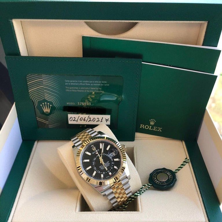 Rolex Sky-Dweller Two-Tone Steel & 18ct Yellow Gold Black Dial Watch 326933 For Sale 4