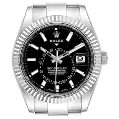 Rolex Sky-Dweller Black Dial Steel White Gold Men's Watch 326934 Unworn