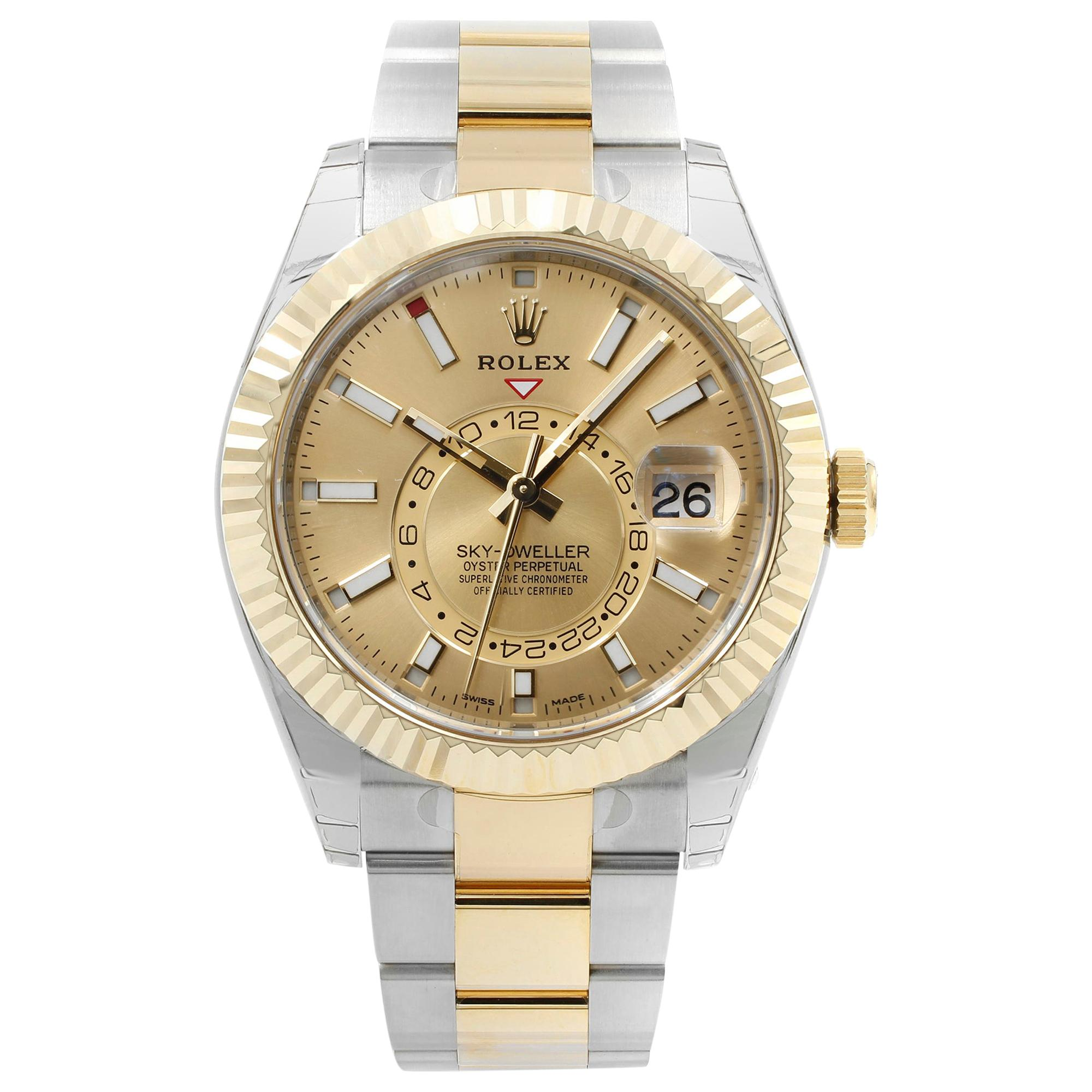 Rolex Sky-Dweller Champagne Dial Steel Yellow Gold Automatic Men''s Watch 326933