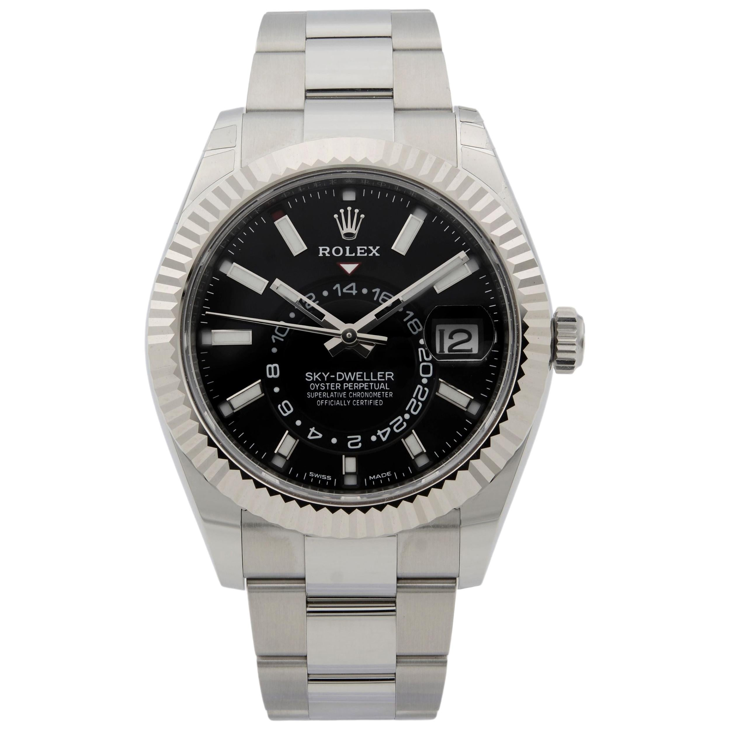 Rolex Sky-Dweller Gold Steel Black Dial Oyster Band Automatic Men's Watch 326934