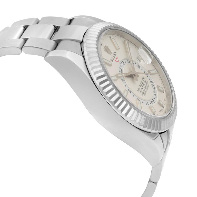 Men's Rolex Sky-Dweller Gold Steel Silver Dial Oyster Band Automatic Mens Watch 326934 For Sale